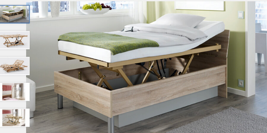 Seniorenbett mit rundum verstellbarem Lattenrost