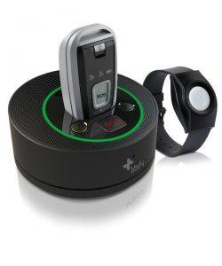 Notrufsystem mit Ladeschale und Notrufarmband.