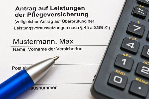 Formular zur Beantragung von Pflegeleistungen.