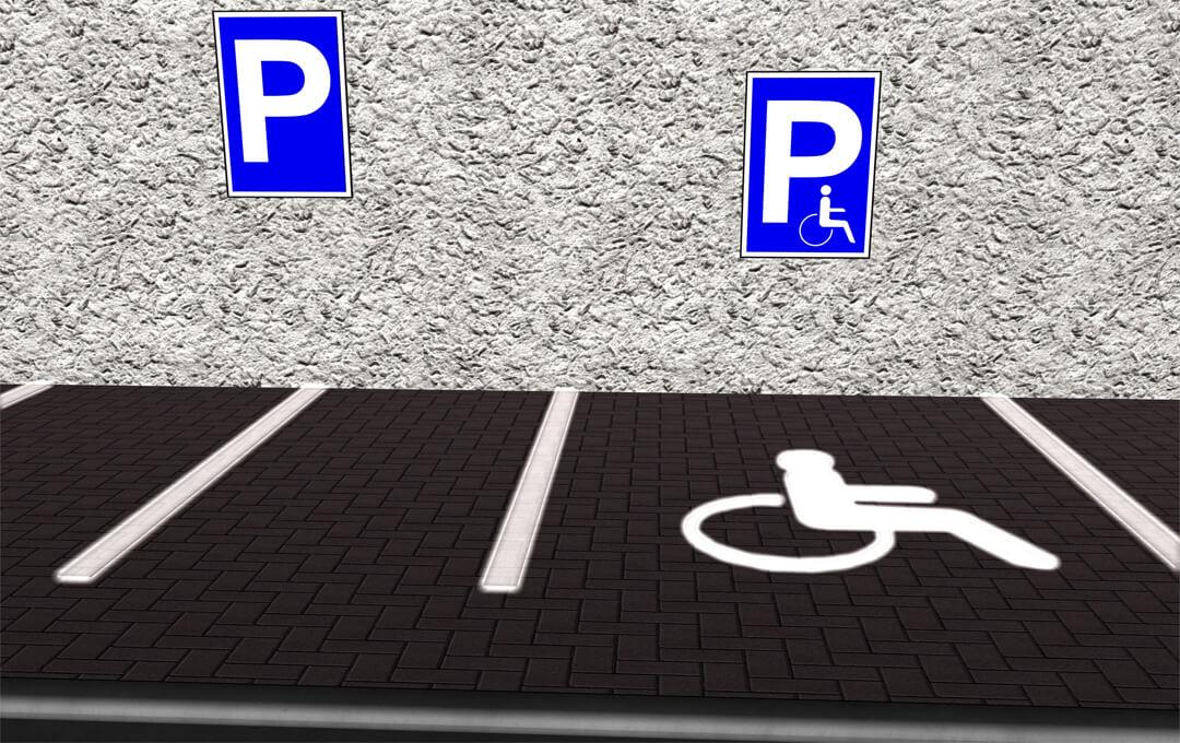 Behindertenparkplatz und Parkausweis für Menschen mit Behinderung