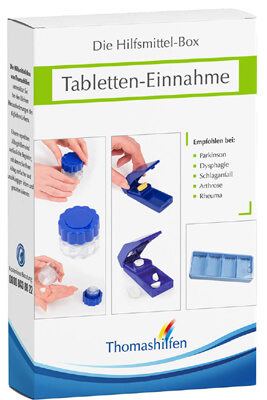 Für manche Menschen ist die Einnahme von Tabletten ein Problem. Die Hilfsmittelbox für Tabletteneinnahme enthält alles, was das Einnehmen von Tabletten erleichtert.