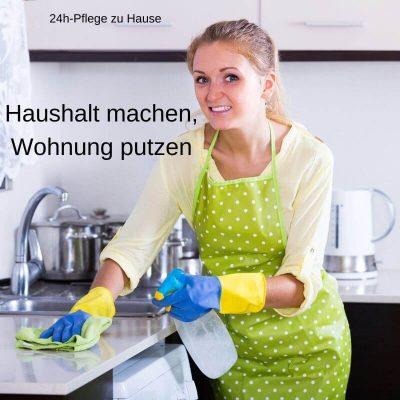 24h-Pflegekraft putzt die Wohnung und macht den Haushalt